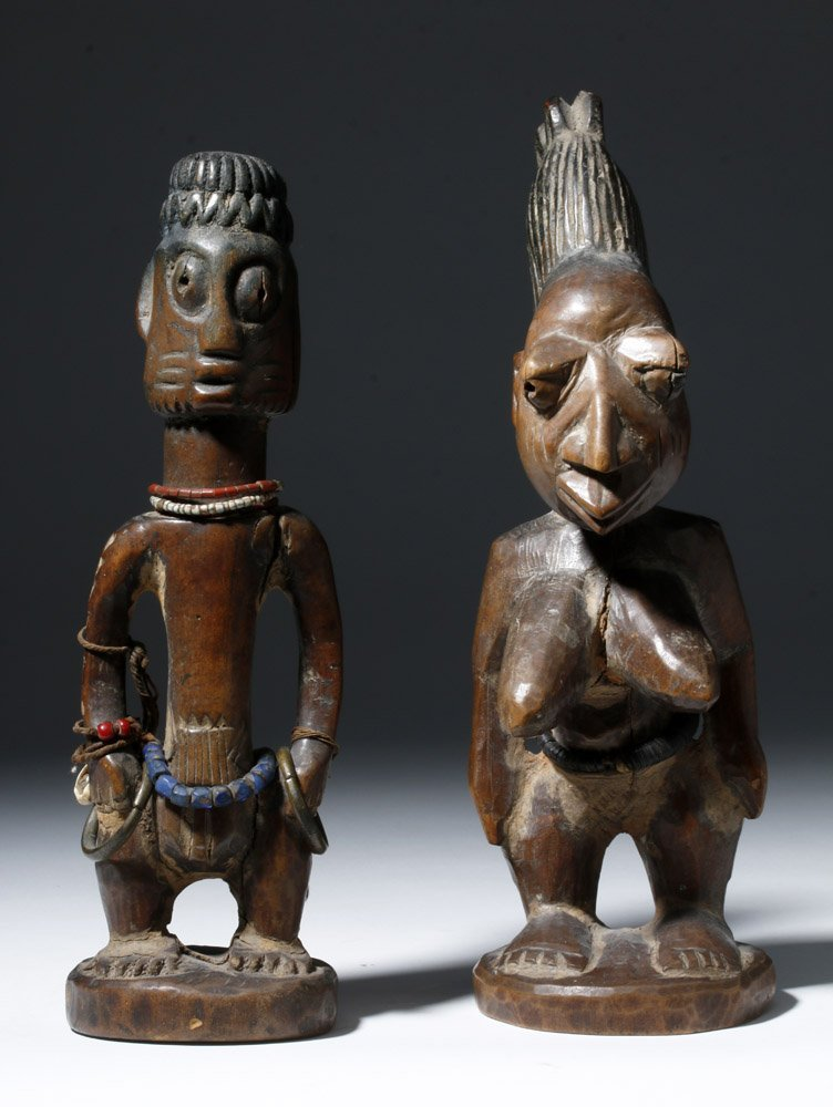 Fine Old African Wooden Ibeji Pair - 5