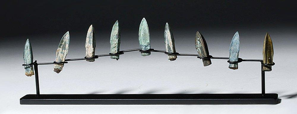 Nine Bronze Socketed Arrowheads