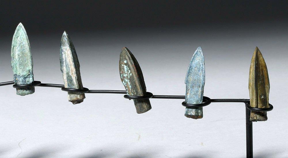 Nine Bronze Socketed Arrowheads - 3