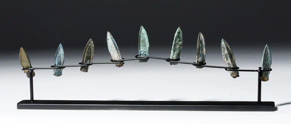 Nine Bronze Socketed Arrowheads - 4