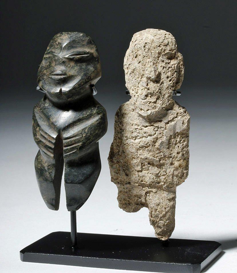 Pair of Mezcala Stone Figures, one Greenstone