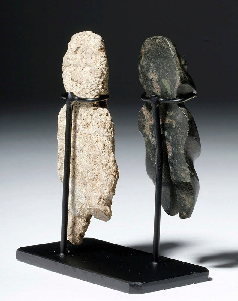 Pair of Mezcala Stone Figures, one Greenstone - 3