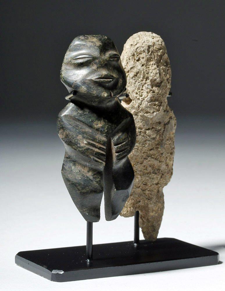 Pair of Mezcala Stone Figures, one Greenstone - 4