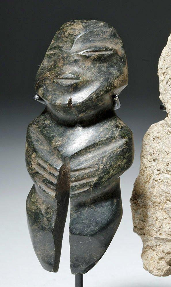 Pair of Mezcala Stone Figures, one Greenstone - 5