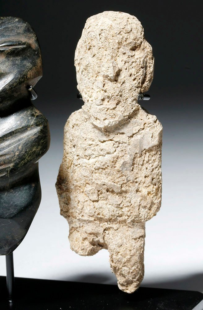 Pair of Mezcala Stone Figures, one Greenstone - 6
