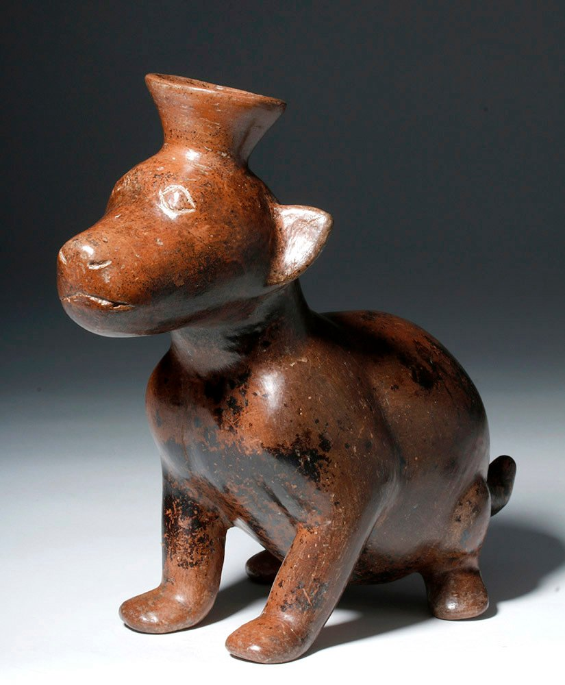 Adorable Colima Pottery Seated Dog