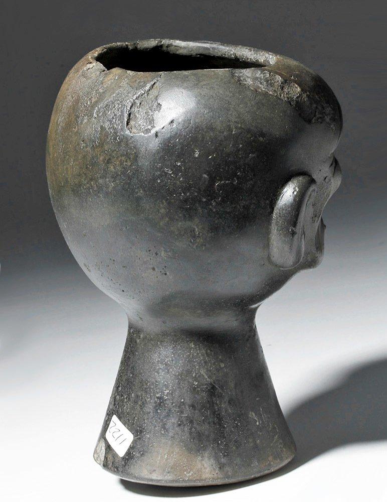 Moche Blackware Portrait Head Rattle - 3