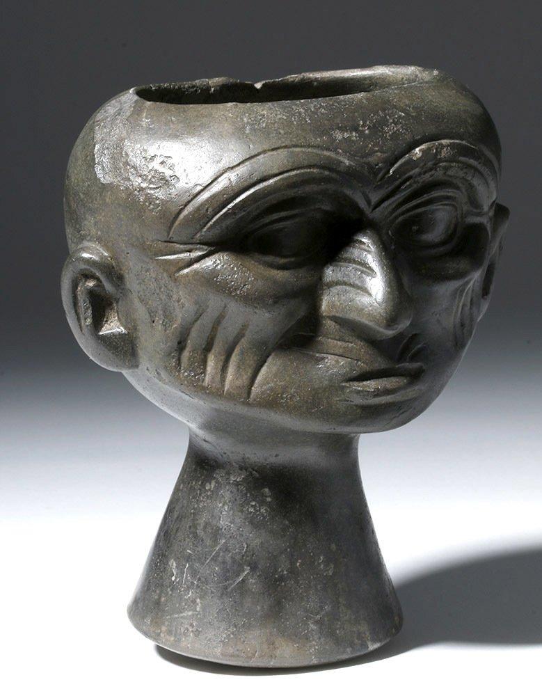 Moche Blackware Portrait Head Rattle - 4