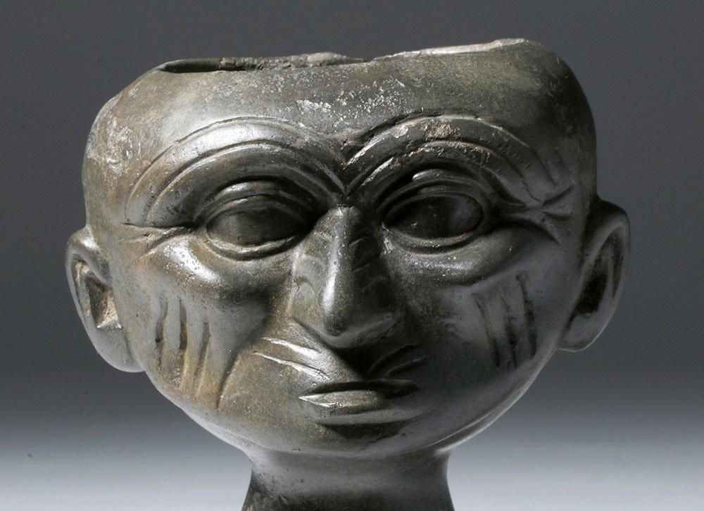 Moche Blackware Portrait Head Rattle - 5