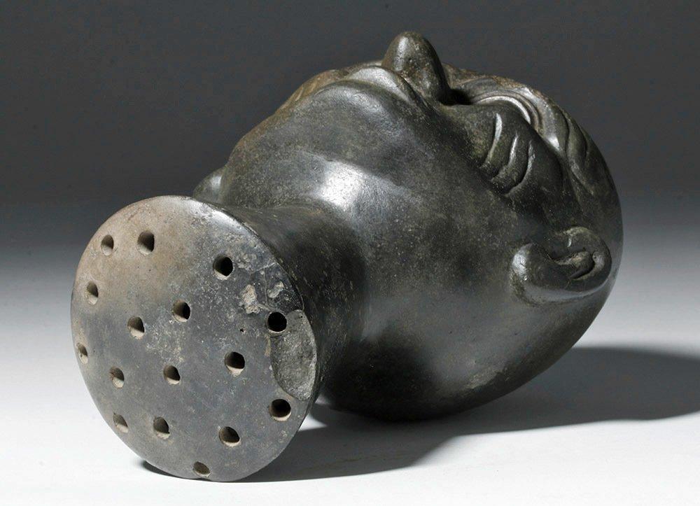 Moche Blackware Portrait Head Rattle - 7
