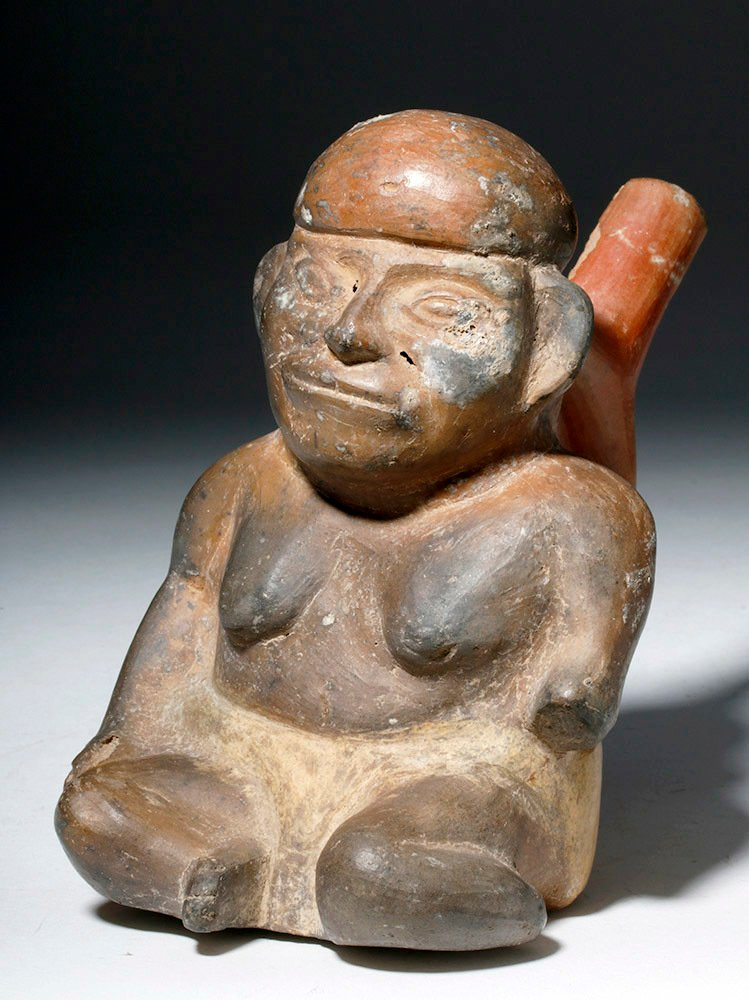 Moche Pottery Stirrup Vessel of Elderly Woman