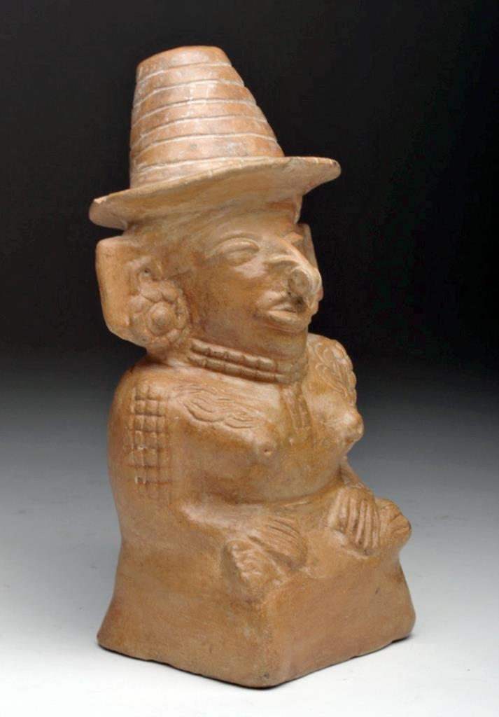 Mayan Toltec Seated Pottery Figure - Corn Goddess - 2