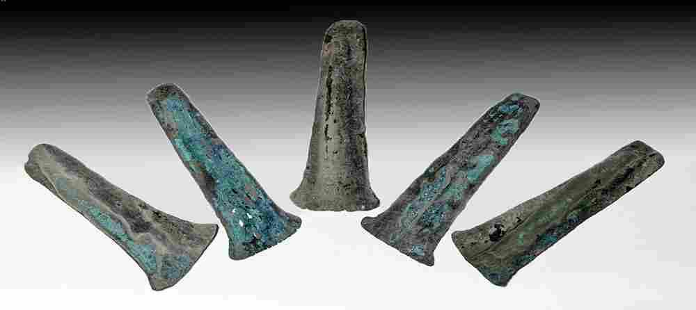Five Aztec Copper Hoe Money Pieces