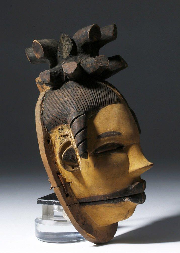 Rare African Ogoni Painted Wood Mask, Hinged Jaw