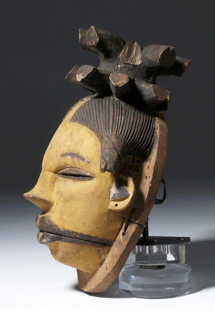 Rare African Ogoni Painted Wood Mask, Hinged Jaw - 3