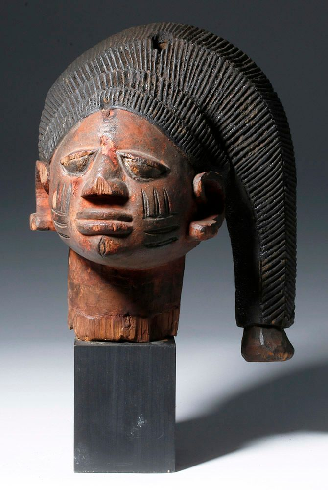 Yoruba Gelede Carved Wood Headdress - Snakelike Hair