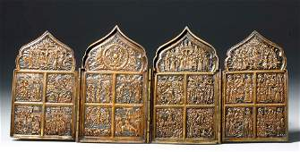 19th C Russian Quadripartite Brass Traveling Icon