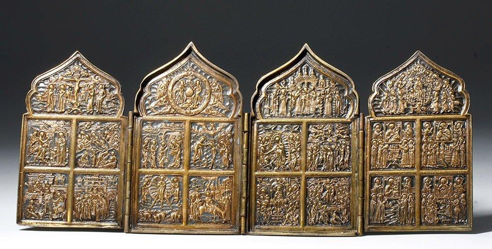 19th C. Russian Quadripartite Brass Traveling Icon