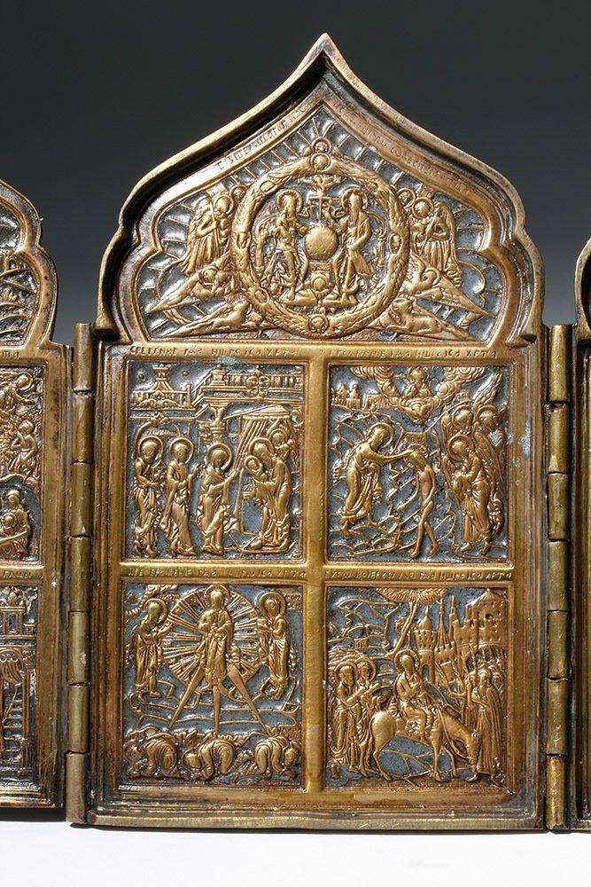 19th C. Russian Quadripartite Brass Traveling Icon - 6