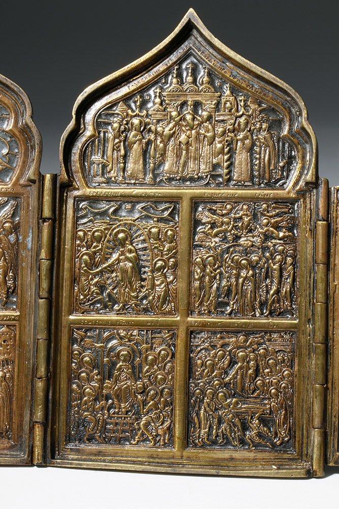 19th C. Russian Quadripartite Brass Traveling Icon - 7