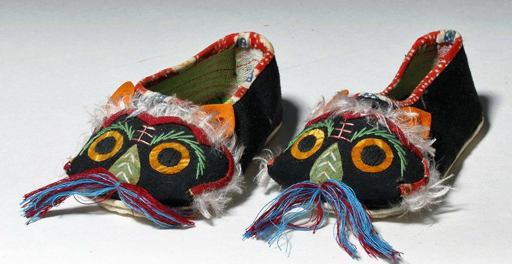 Pair Japanese Children's Owl Slippers + Female Doll - 2