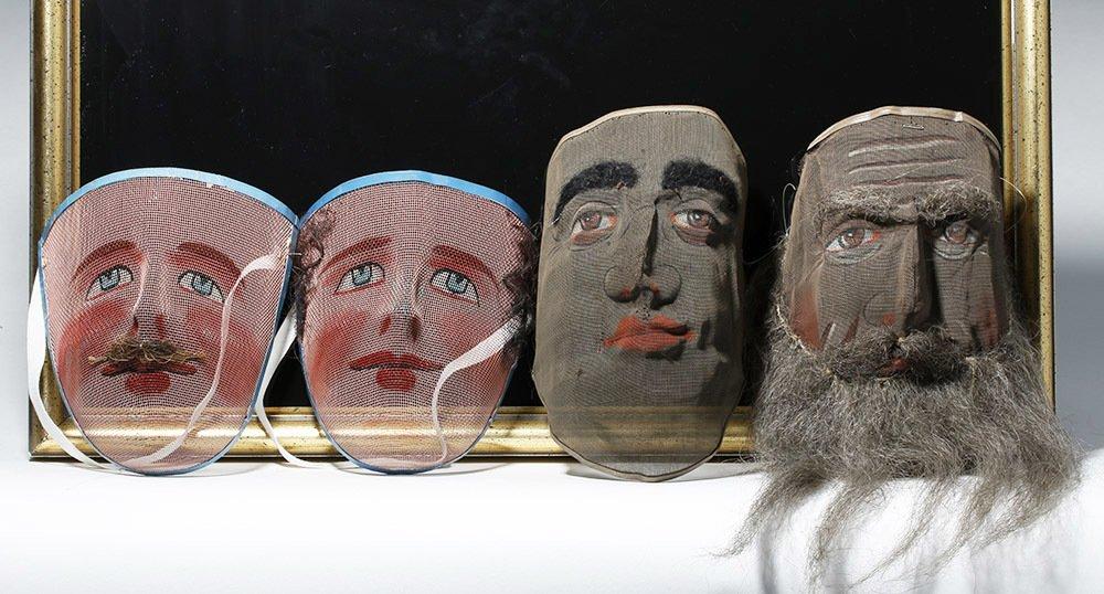 Lot of 4 Odd Fellows Ceremonial Screen Masks