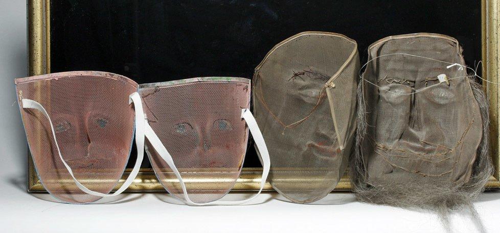 Lot of 4 Odd Fellows Ceremonial Screen Masks - 2