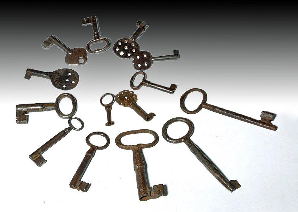 18th C. Iron Skeleton Keys -  24 Varying Sizes