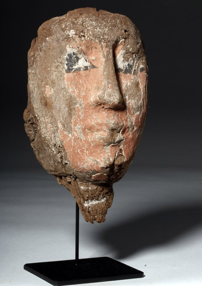 Egyptian Wood & Painted Gesso Mummy Mask - 4