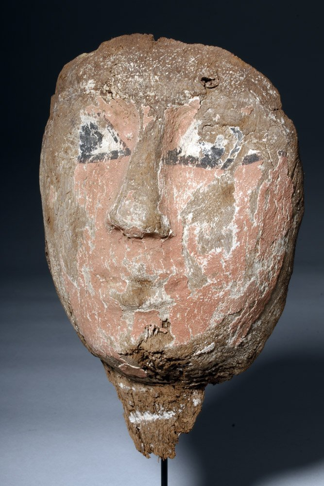 Egyptian Wood & Painted Gesso Mummy Mask - 5