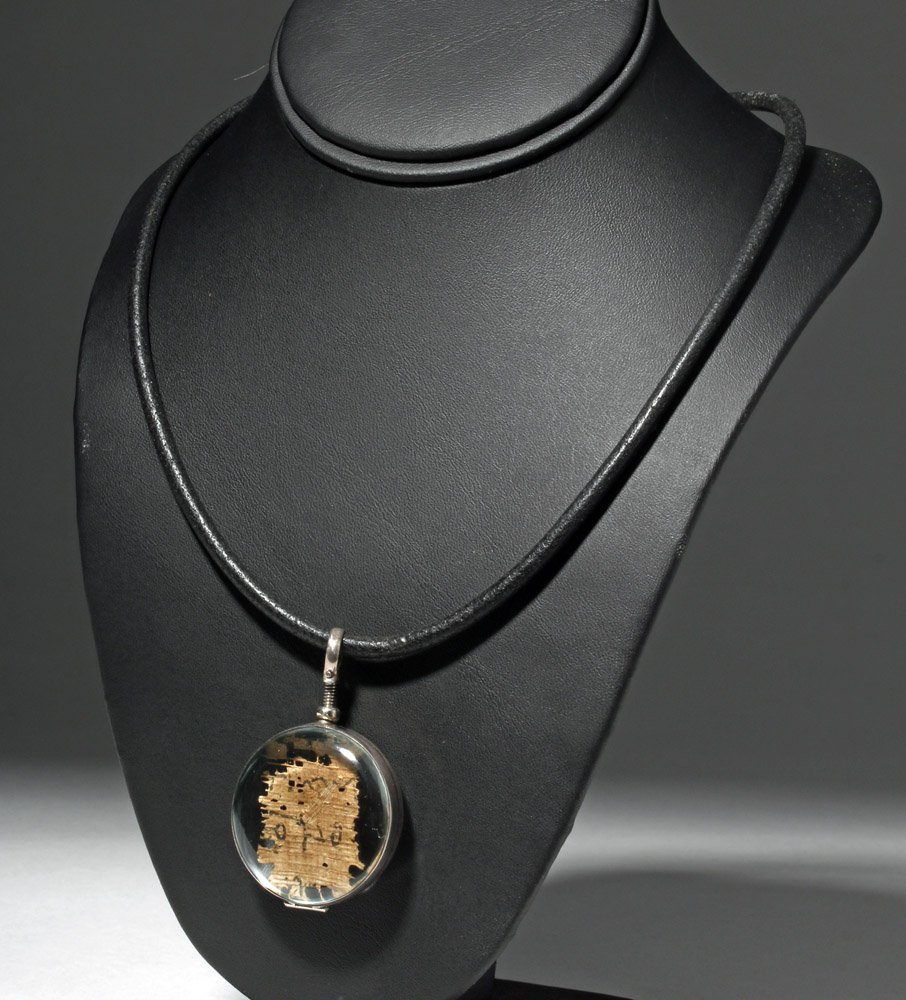 Custom Necklace w/ Ancient Papyrus in Circular Pendant