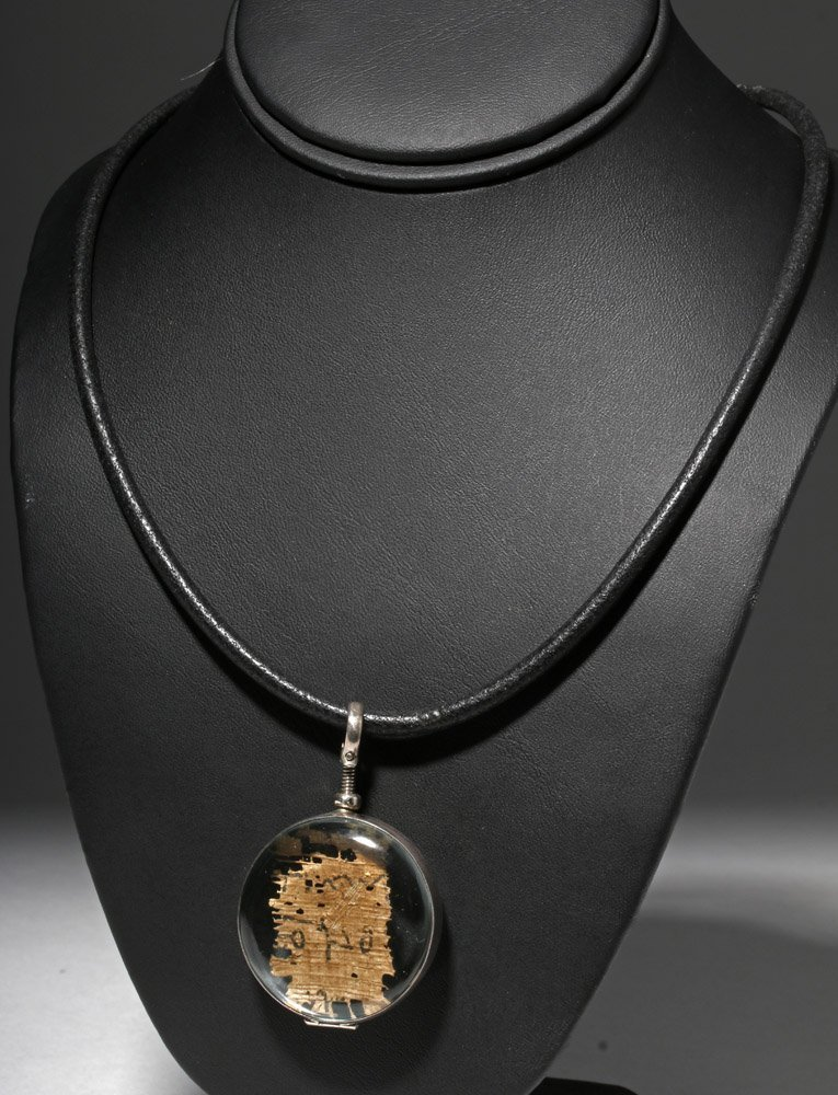 Custom Necklace w/ Ancient Papyrus in Circular Pendant - 2