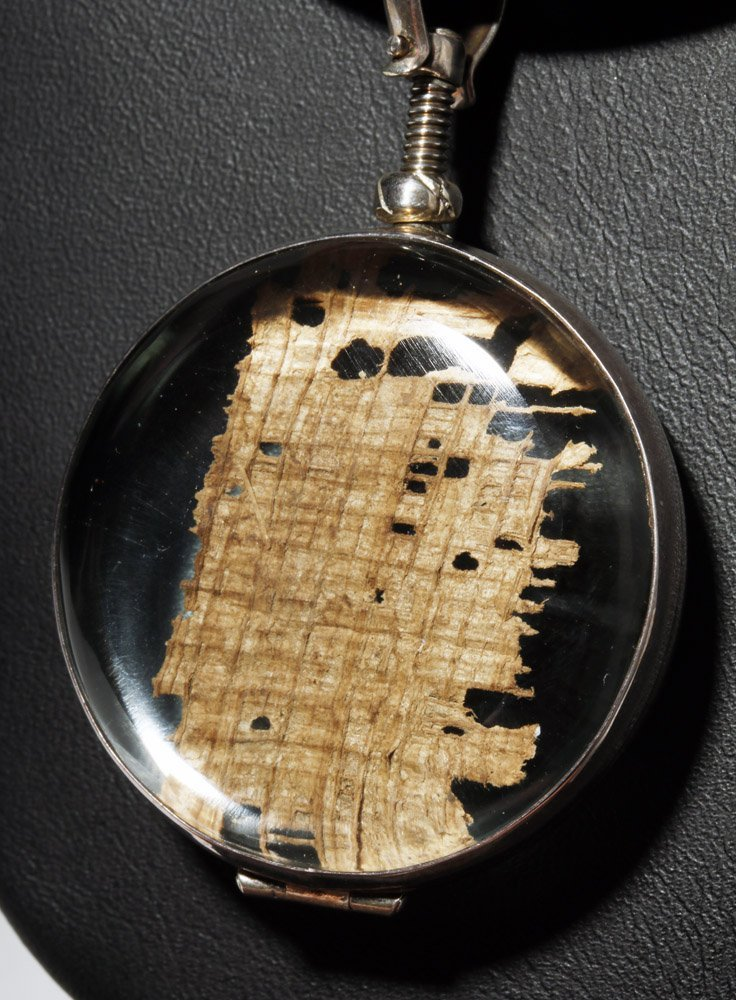 Custom Necklace w/ Ancient Papyrus in Circular Pendant - 4
