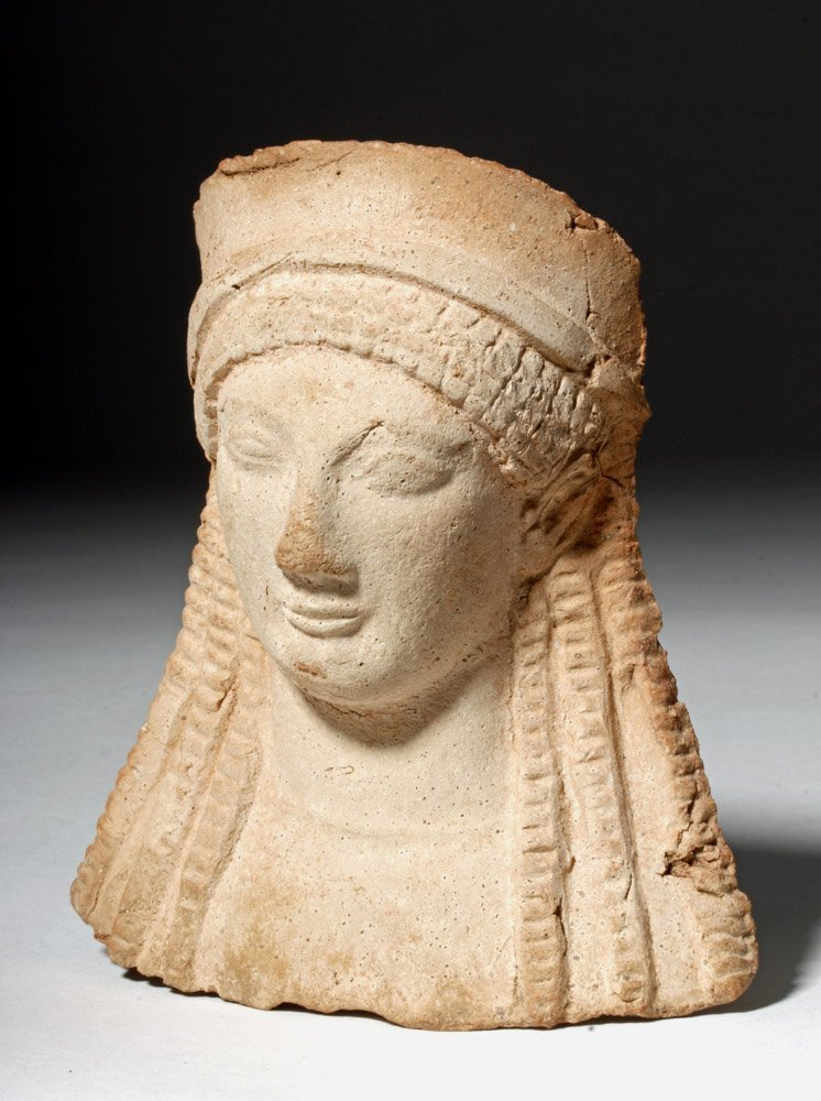 Western Greek Archaic Pottery Female Protome