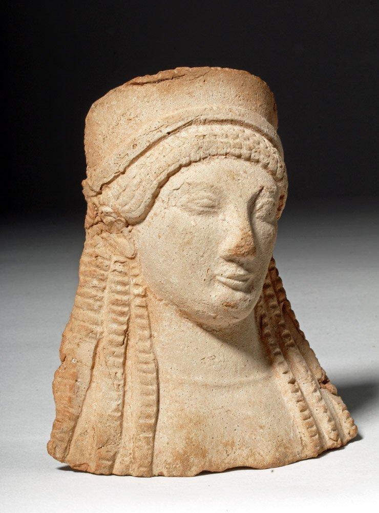 Western Greek Archaic Pottery Female Protome - 4