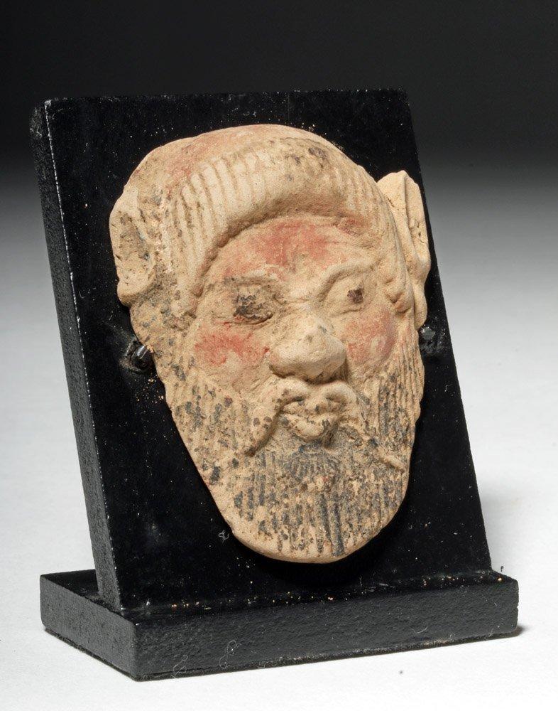 Dramatic Greek Polychrome Applique of Silenus