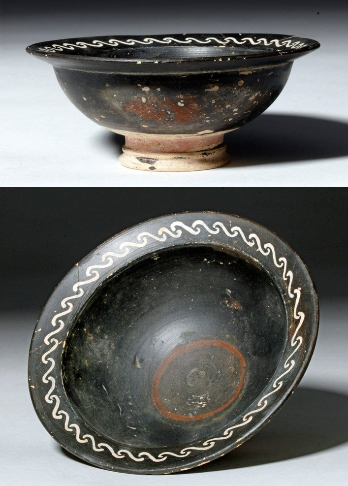 Decorated Greek Pottery Bowl