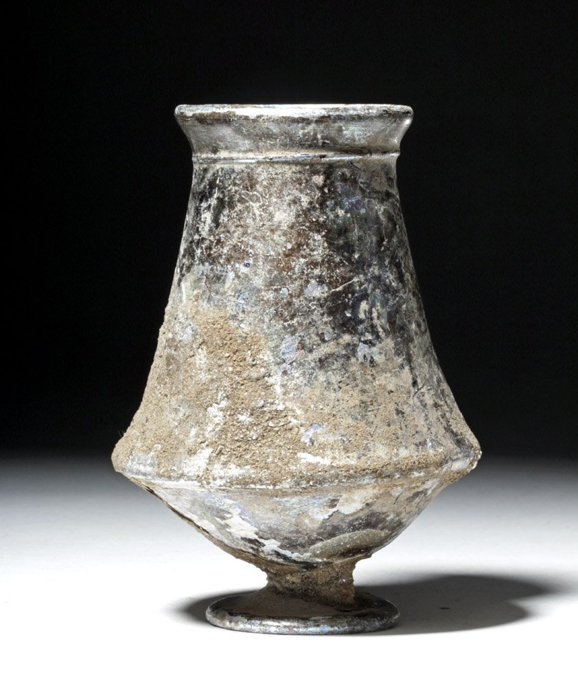 Wonderfully Iridescent Roman Glass Footed Cup