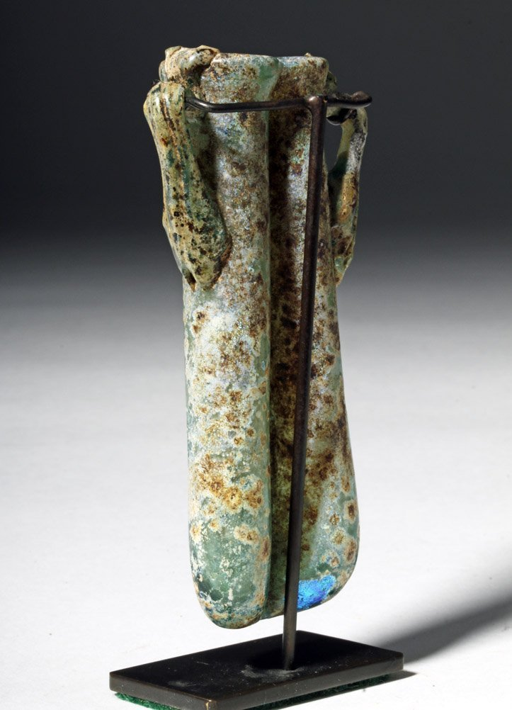Gorgeous / Iridescent Roman Glass Double Unguent - 2