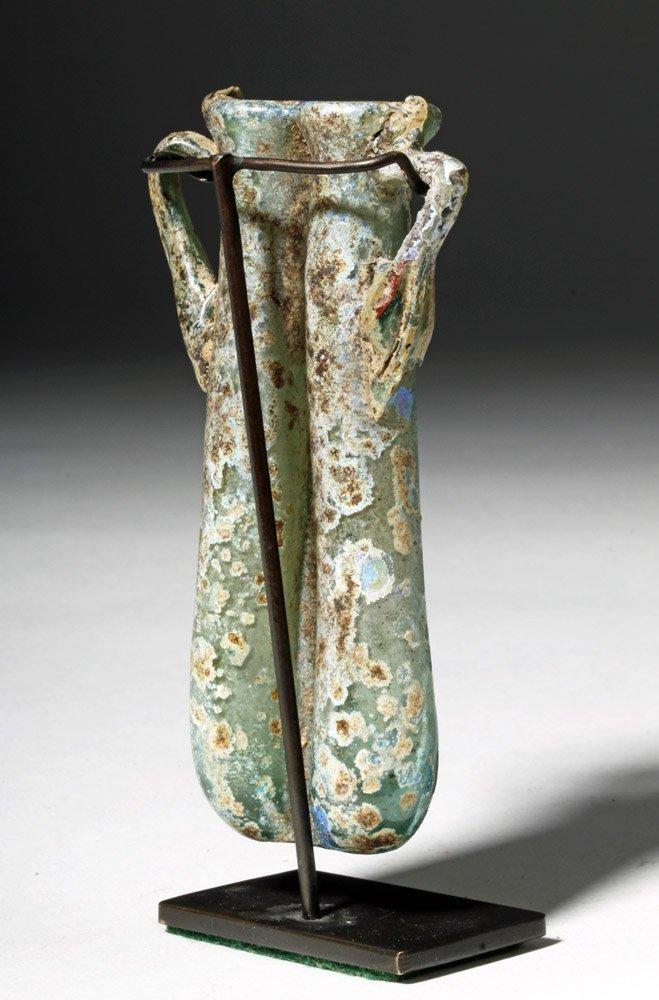 Gorgeous / Iridescent Roman Glass Double Unguent - 3