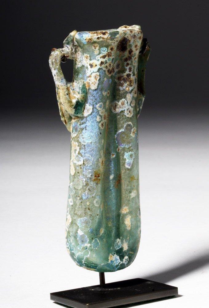Gorgeous / Iridescent Roman Glass Double Unguent - 4
