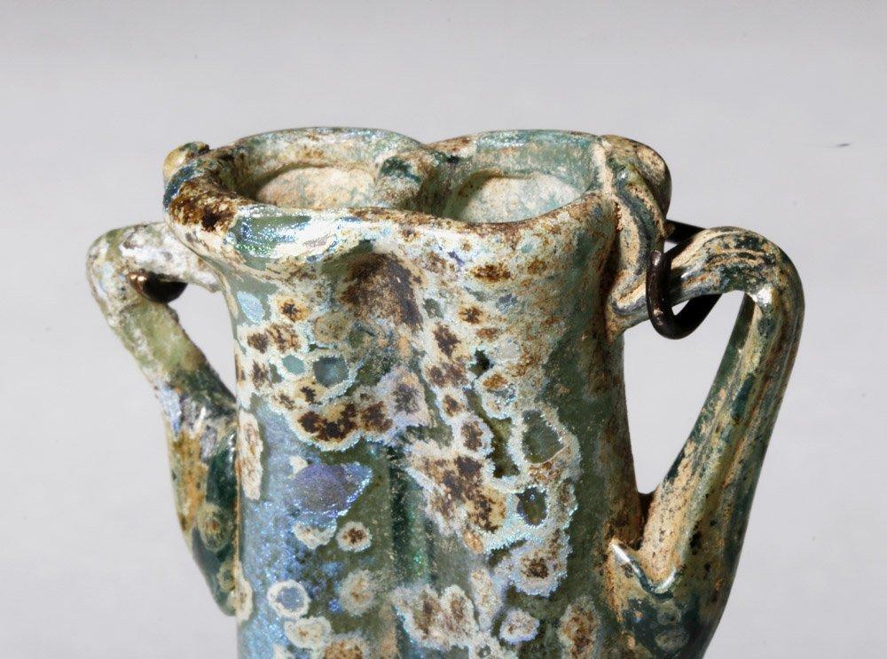Gorgeous / Iridescent Roman Glass Double Unguent - 5