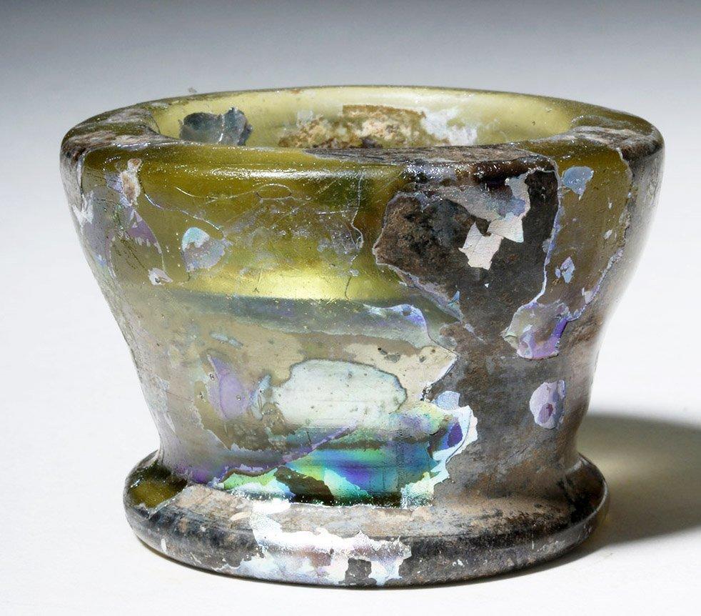 Roman Glass Open Jar - Fiery Iridescence!