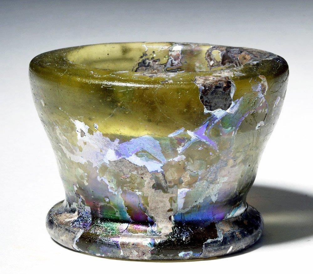 Roman Glass Open Jar - Fiery Iridescence! - 2
