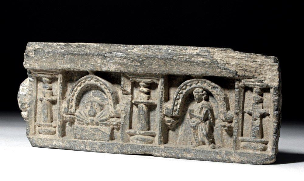 Very Fine Gandharan Schist Panel - Standing Buddha