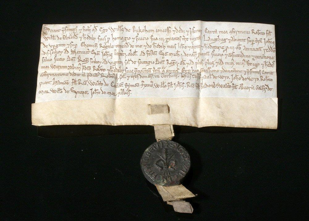 Rare 12th C. English Vellum Charter, William de Bukeham