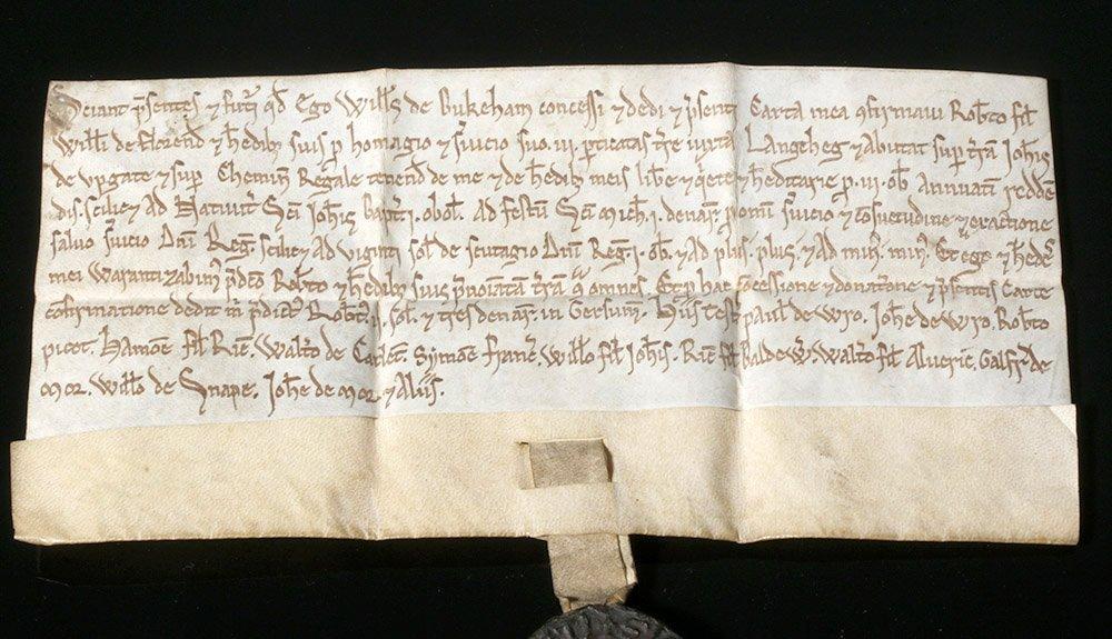 Rare 12th C. English Vellum Charter, William de Bukeham - 2