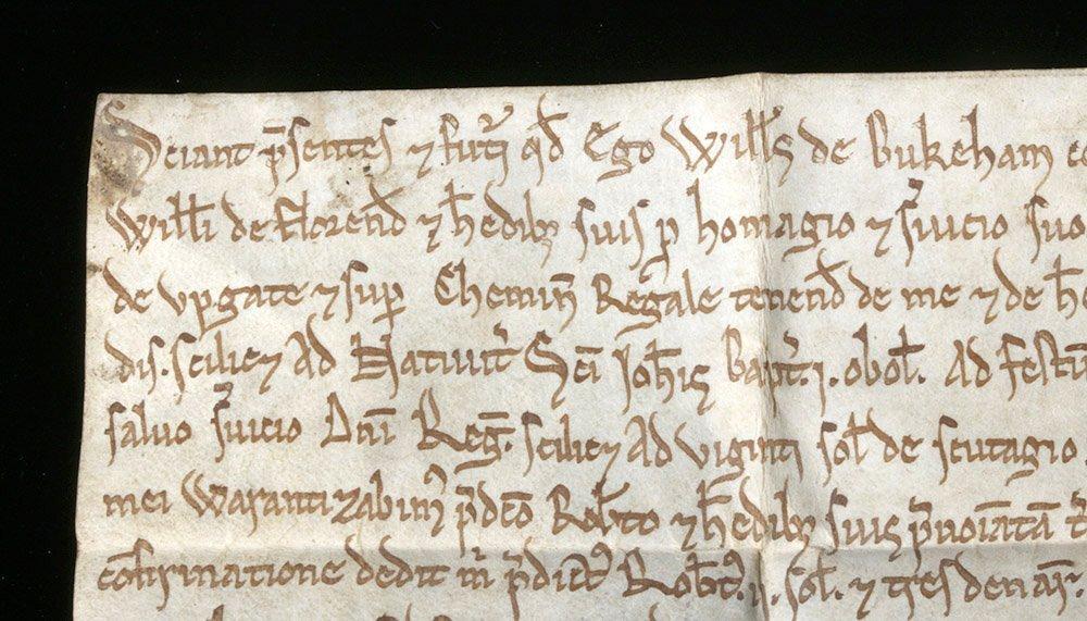 Rare 12th C. English Vellum Charter, William de Bukeham - 4