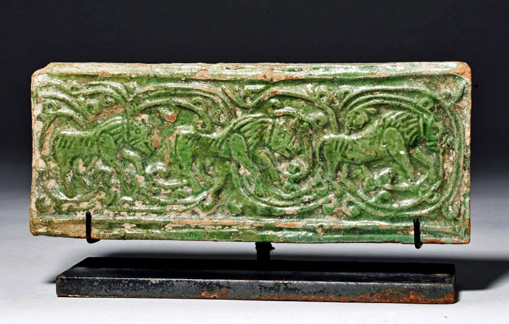 Chinese Green Glazed Pottery Temple Brick
