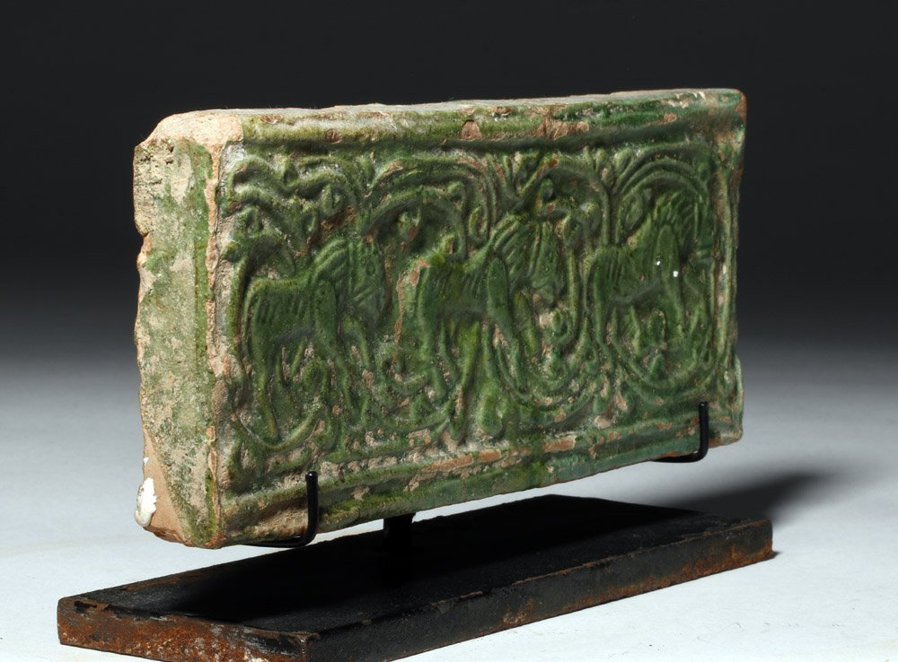 Chinese Green Glazed Pottery Temple Brick - 4